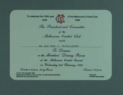 Invitation to Melbourne Cricket Club 150th Anniversary Dinner, 3 February 1988