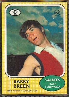 1972 Scanlen's Gum Australian Football, Barry Breen trade card