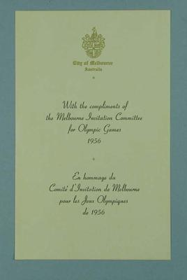 With Compliments slip from the Melbourne Invitation Committee for 1956 Olympic Games; Documents and books; 1998.3431.3