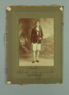 Photograph of John Brake, Schools Champion of Victoria 1908