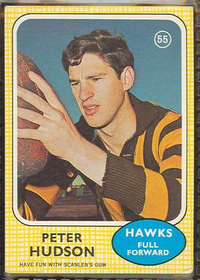 1970 Scanlen's Gum Australian Football, Peter Hudson trade card; Documents and books; 1987.1811.18