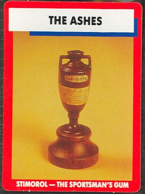 1990 Stimorol Cricket Stumpers Competition Ashes Trophy trade card