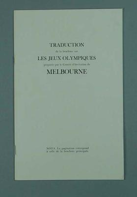 Booklet, French language invitation to Melbourne - 1956 Olympic Games; Documents and books; 1998.3431.7