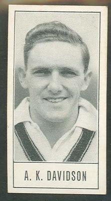 1957 Barratt & Co Ltd Test Cricketers Series B Alan Davidson trade card; Documents and books; M9716.13