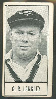 1957 Barratt & Co Ltd Test Cricketers Series B Gil Langley trade card; Documents and books; M9716.15