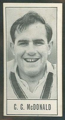 1957 Barratt & Co Ltd Test Cricketers Series B Colin McDonald trade card; Documents and books; M9716.16