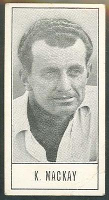 1957 Barratt & Co Ltd Test Cricketers Series B Ken Mackay trade card; Documents and books; M9716.17