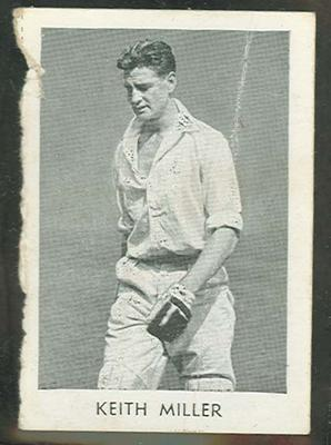 1947 Radio Fun Famous Test Cricketers Keith Miller trade card; Documents and books; M11738.12