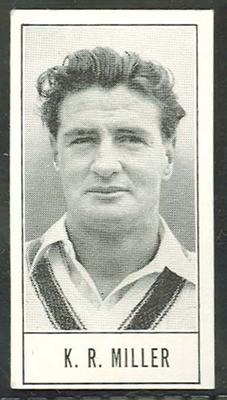 1957 Barratt & Co Ltd Test Cricketers Series B Keith Miller trade card; Documents and books; M9716.19