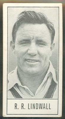 1957 Barratt & Co Ltd Test Cricketers Series B Ray Lindwall trade card; Documents and books; M9716.21