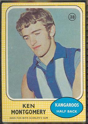 1970 Scanlen's Gum Australian Football, Ken Montgomery trade card; Documents and books; 1987.1811.34