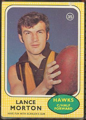 1970 Scanlen's Gum Australian Football, Lance Morton trade card