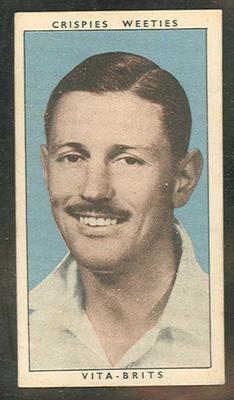 1948 Kornie Food Co & Purina Grain Food Leading Cricketers R Niehuus trade card