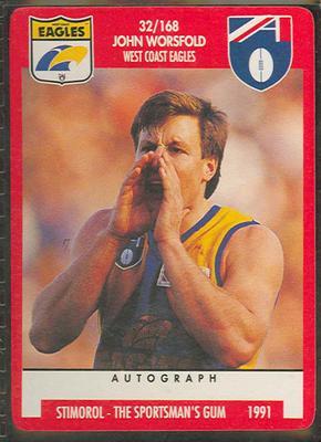 1991 Stimorol Australian Football John Worsfold trade card