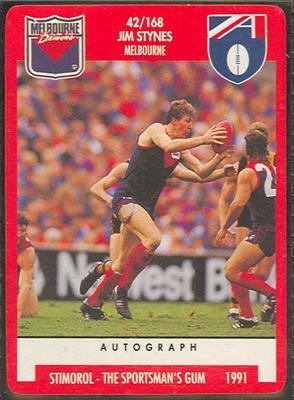 1991 Stimorol Australian Football Jim Stynes trade card