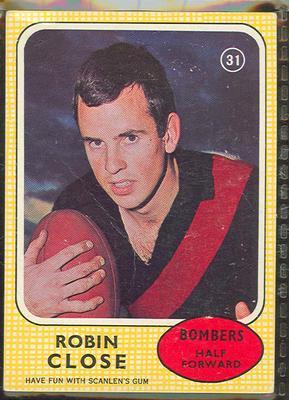 1970 Scanlen's Gum Australian Football, Robin Close trade card