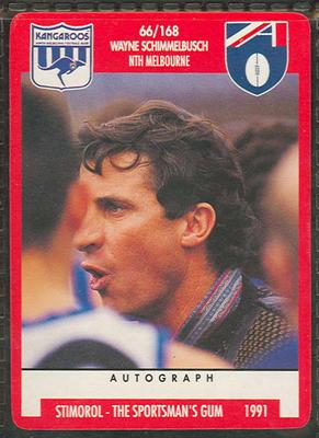 1991 Stimorol Australian Football Wayne Schimmelbusch trade card; Documents and books; M11755.8