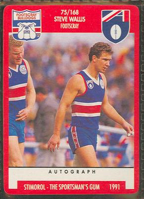 1991 Stimorol Australian Football Steve Wallis trade card