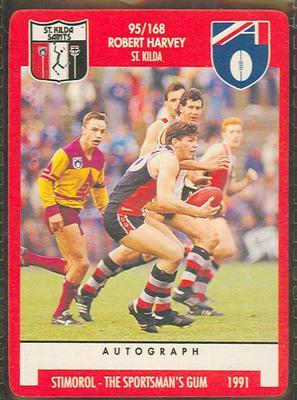1991 Stimorol Australian Football Robert Harvey trade card