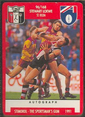 1991 Stimorol Australian Football Stewart Loewe trade card