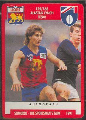 1991 Stimorol Australian Football Alastair Lynch trade card
