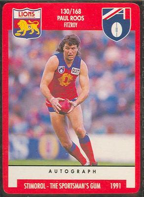 1991 Stimorol Australian Football Paul Roos trade card