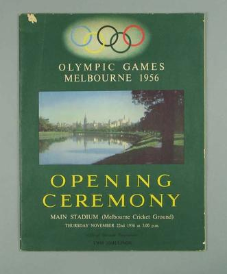 Programme - 1956 Melbourne Olympic Games Opening Ceremony