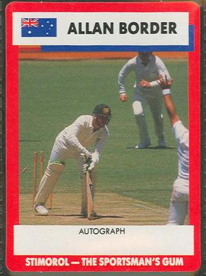 1990 Stimorol Cricket Stumpers Competition Allan Border trade card