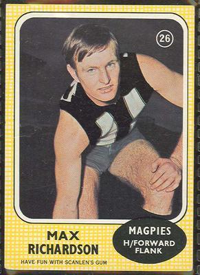 1970 Scanlen's Gum Australian Football, Max Richardson trade card