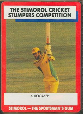 1990 Stimorol Cricket Stumpers Competition Greg Chappell trade card