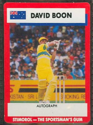 1990 Stimorol Cricket Stumpers Competition David Boon trade card