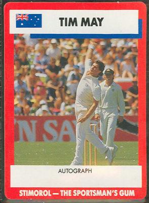 1990 Stimorol Cricket Stumpers Competition Tim May trade card