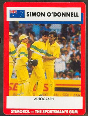 1990 Stimorol Cricket Stumpers Competition Simon O'Donnell trade card