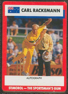 1990 Stimorol Cricket Stumpers Competition Carl Rackemann trade card