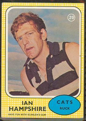 1970 Scanlen's Gum Australian Football, Ian Hampshire trade card