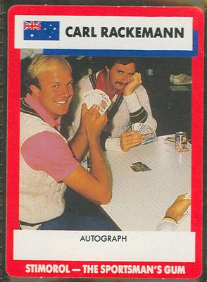 1990 Stimorol Cricket Stumpers Competition Carl Rackemann trade card; Documents and books; M7877.21