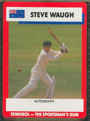 1990 Stimorol Cricket Stumpers Competition Steve Waugh trade card; Documents and books; M7877.23