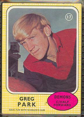 1970 Scanlen's Gum Australian Football, Greg Parke trade card