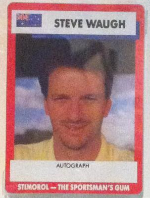 1990 Stimorol Cricket Stumpers Competition Steve Waugh trade card; Documents and books; M7877.24