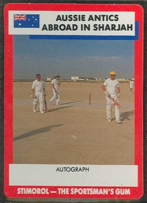 1990 Stimorol Cricket Stumpers Competition Aussie Antics in Sharjah trade card; Documents and books; M7877.25