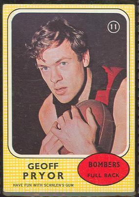 1970 Scanlen's Gum Australian Football, Geoff Pryor trade card