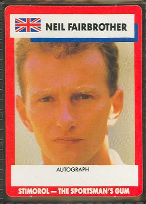 1990 Stimorol Cricket Stumpers Competition Neil Fairbrother trade card