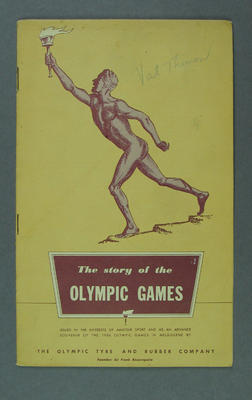 """Booklet - """"The Story of the Olympic Games""""produced by Olympic Tyre & Rubber Company"""