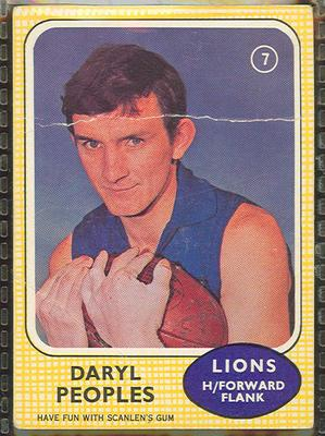 1970 Scanlen's Gum Australian Football, Daryl Peoples trade card
