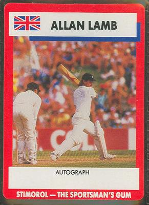 1990 Stimorol Cricket Stumpers Competition Allan Lamb trade card