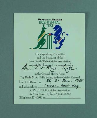 Invitation to Bicentennial Test at Sydney Cricket Ground, 30-31 Jan 1988