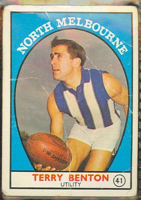 1968 Scanlen's Gum Australian Football - Series A, Terry Benton trade card