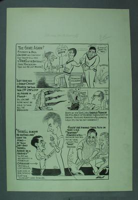 Cartoon, Premier Grade cricket competition in Melbourne c1960s; Artwork; M11822
