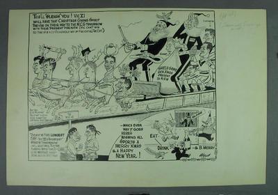Cartoon, Victoria v NSW Sheffield Shield game 1961-62