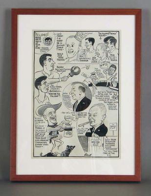 Cartoon, Davis Cup 1960 - Australia v Italy; Artwork; Framed; M11827